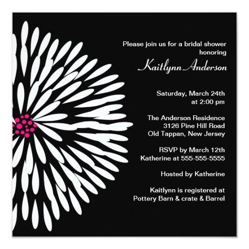 White Flower on Black Bridal Shower Invitation
