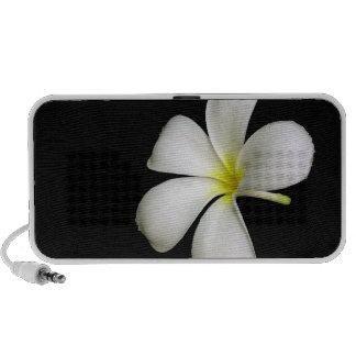 White Flower on Black Doodle Mini Speaker