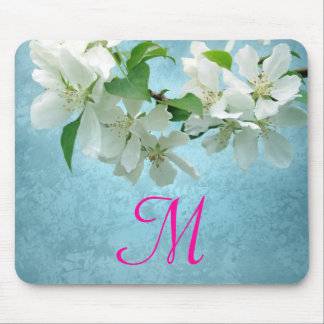 White Flower on Blue Monogram Initial Mouse Pad