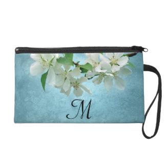 White Flower on Blue Sky Make Up Bag Tote Purse Wristlet Clutch