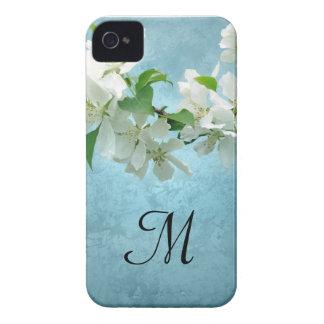 White Flower on Blue Sky Monogram IPHONE 4 Case
