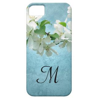 White Flower on Blue Sky Monogram IPHONE 5 Case