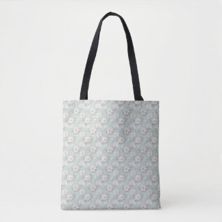 White Flower Pattern All-Over-Print Tote Bag