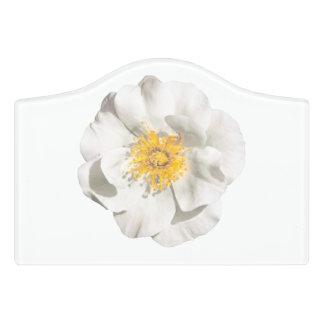 White Flower Photo Door Sign