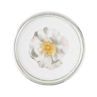 White Flower Photo Lapel Pin