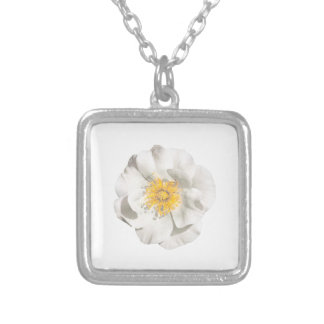 White Flower Photo Silver Plated Necklace
