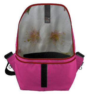 White Flower Pink Large Messenger Bag