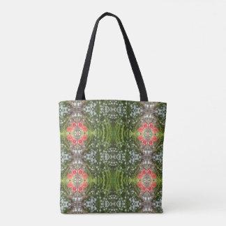 White Flower & Red Poppy Fractal Tote Bag