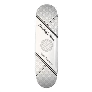 White Flower Ribbon Custom Skate Board