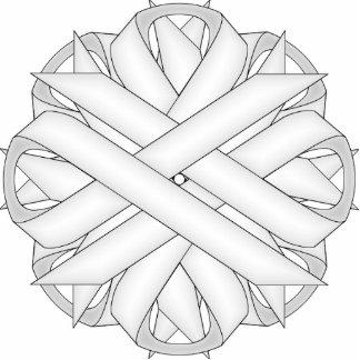 White Flower Ribbon Photo Sculpture Key Ring