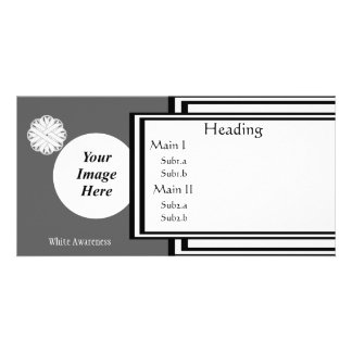 White Flower Ribbon Template Custom Photo Card