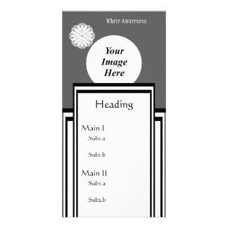 White Flower Ribbon Template Customised Photo Card