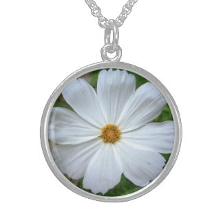 White Flower Round Sterling Silver Necklace