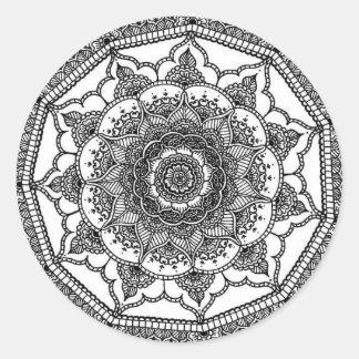 White Flower Round Sticker