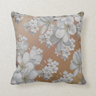 White  flower sandy taupe Throw pillow