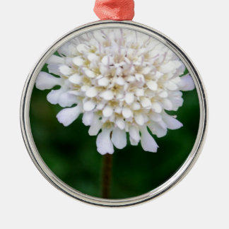 White Flower Silver-Colored Round Decoration