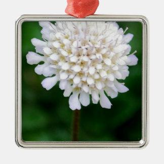 White Flower Silver-Colored Square Decoration