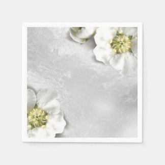 White Flower Silver Gray Glass Metallic Delicate Disposable Napkins