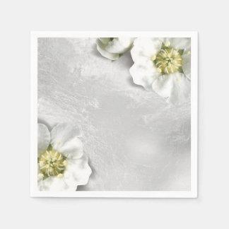 White Flower Silver Gray Glass Metallic Delicate Disposable Serviette
