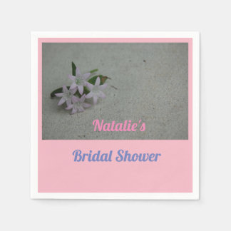White flower simple bridal shower napkin paper napkins