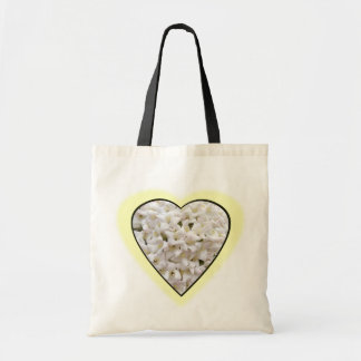 White Flower Tote Canvas Bag