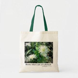 White flower tote budget tote bag