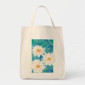 White Flower Tote Grocery Tote Bag