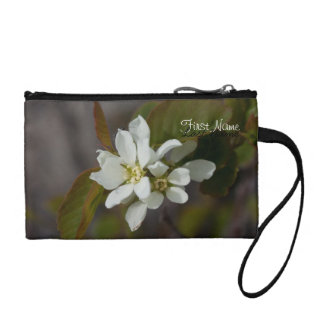 White Flower with Ant; Customizable Coin Purse