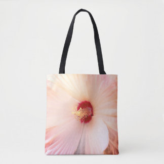 White Flower with Red Full Bloom Tote Bag