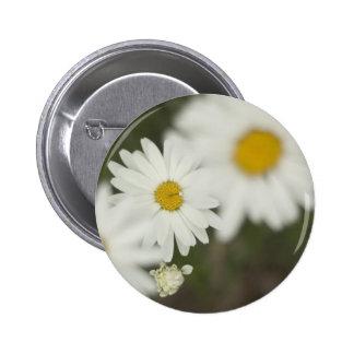 White Floweres Pinback Button