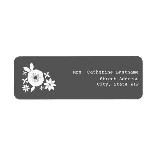 White Flowers Address Label Sticker