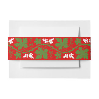 White Flowers and Grape Leaves Over Red Invitation Belly Band