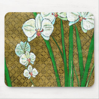 White Flowers and Green Stems on Brown Border Mouse Pad