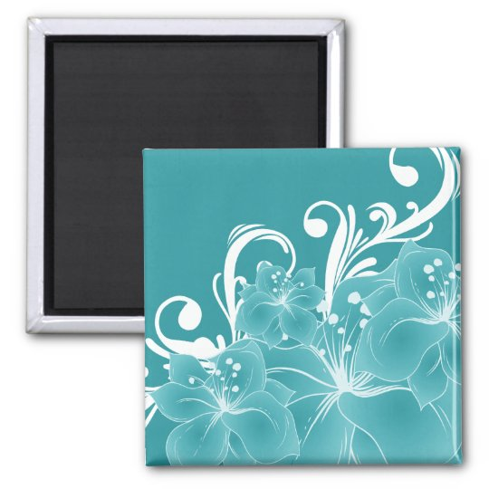 White Flowers and Scrolls on Blue Magnet