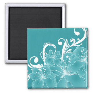 White Flowers and Scrolls on Blue Square Magnet