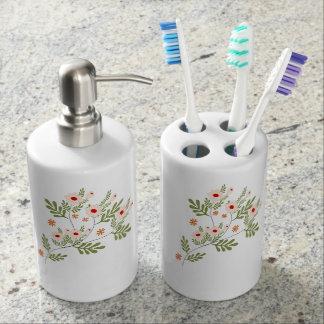 white flowers bathroom set