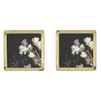 White Flowers Black Background Jasmine Flower Moon Gold Finish Cuff Links