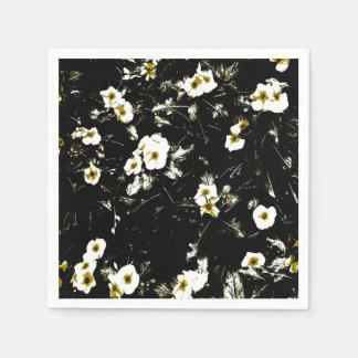 white flowers black napkins paper serviettes
