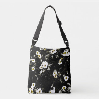 white flowers black tote bag