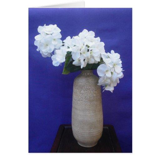White Flowers Blank Card