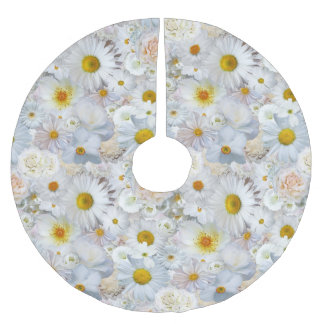 White Flowers Bouquet Floral Wedding Bridal Spring Brushed Polyester Tree Skirt