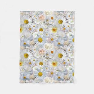 White Flowers Bouquet Floral Wedding Bridal Spring Fleece Blanket