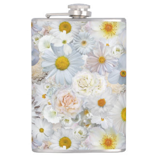 White Flowers Bouquet Floral Wedding Bridal Spring Hip Flask