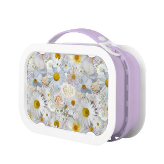 White Flowers Bouquet Floral Wedding Bridal Spring Lunch Box