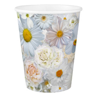 White Flowers Bouquet Floral Wedding Bridal Spring Paper Cup