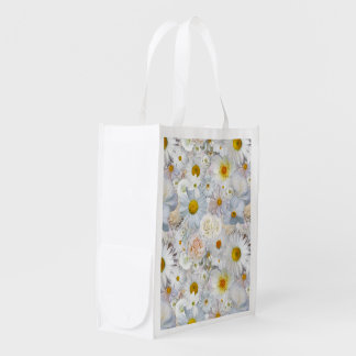 White Flowers Bouquet Floral Wedding Bridal Spring Reusable Grocery Bag