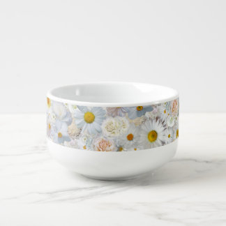 White Flowers Bouquet Floral Wedding Bridal Spring Soup Bowl With Handle