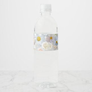 White Flowers Bouquet Floral Wedding Bridal Spring Water Bottle Label