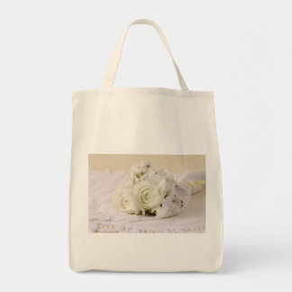white flowers bouquet organic tote bag
