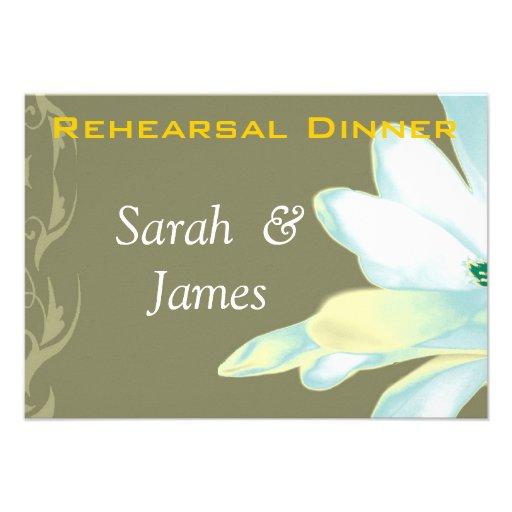 White flowers brocade rehearsal dinner invite